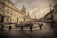 Piazza Navona with three famous fountains. Rome. Italy. Royalty Free Stock Photos