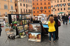 Piazza Navona. Tourists in Piazza Navona. Rome. Italy Royalty Free Stock Images