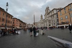 Piazza Navona, town, city, town square, sky. Piazza Navona is town, sky and street. That marvel has city, public space and urban area and that beauty contains royalty free stock images