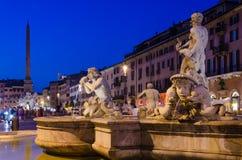 Piazza Navona vid natt Arkivfoton