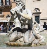 Piazza Navona z swój fontannami Bernini Porta w Rzym Włochy i Della Obraz Royalty Free