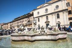 Piazza Navona z swój fontannami Bernini Porta w Rzym Włochy i Della Zdjęcie Royalty Free