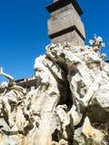 Piazza Navona z swój fontannami Bernini Porta w Rzym Włochy i Della Zdjęcie Stock