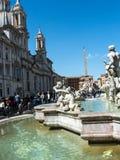 Piazza Navona z swój fontannami Bernini Porta w Rzym Włochy i Della Obraz Stock