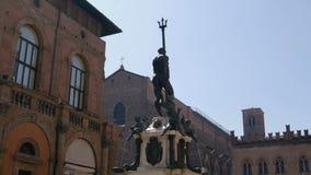 Piazza Nettuno in Bologna - Emilia Romagna - Italy stock footage