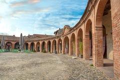 Piazza Nuova, ancient elliptical square in Bagnacavallo, Ravenna Royalty Free Stock Photos
