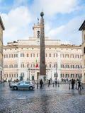 Piazza Piazza与方尖碑的di Montecitorio 库存照片