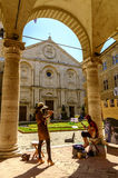 Piazza Pio II square in Pienza Tuscany Royalty Free Stock Photos