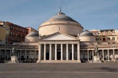Piazza Plebiscito , Basilica di San Francesco di Paola, Naples, Italy Stock Image