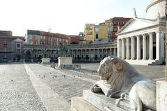 Piazza Plebiscito, Basilika di San Francesco di Paola, Naples, Italien Royaltyfria Bilder