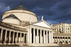 Piazza Plebiscito in Naples with San Francesco di Paola Church Stock Image
