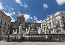 Piazza Pretoria. View on a part of Fontana Pretoria in Palermo constructed by the sculptor Francesco Camilliani and Angelo Vagherino in 1544-55 Stock Image