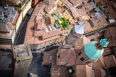 Piazza Ravegnana seen from Asinelli Tower in Bologna Italy. The Piazza Ravegnana as viewed from the Asinelli Tower in the center of Bologna, Italy Royalty Free Stock Images