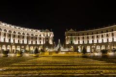 Piazza Repubblica in Rome at Night Stock Photo