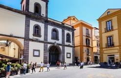 Piazza San Antonio. Basilica di San Antonio. Sorrento. Italy stock images