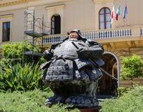 Piazza San Antonio. Sculpture `Custode samurai Xl` of Matteo Pugliese. Sorrento. Italy royalty free stock images