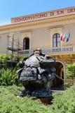 Piazza San Antonio. Sculpture `Custode samurai Xl` of Matteo Pugliese. Sorrento. Italy royalty free stock photography