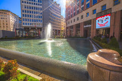 Piazza San Babila fountain stock photo