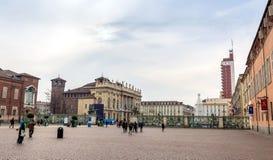Piazza San Carlo i Turin, Italien Arkivbilder