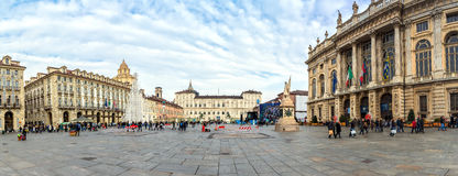 Piazza San Carlo i Turin, Italien Royaltyfri Fotografi