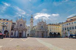 Piazza San Carlo square and twin Catholic churches royalty free stock photo