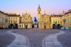 Piazza San Carlo and twin churches in the city center of Turin,. Piazza San Carlo square and twin churches of Santa Cristina and San Carlo Borromeo in the Old royalty free stock image