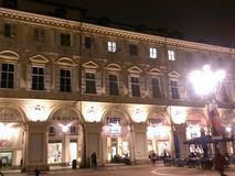 Piazza san carlo torino at night italy royalty free stock photo