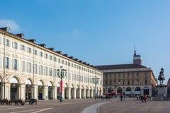 Piazza San Carlo in Turijn Stock Foto's