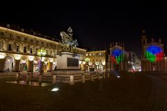 Piazza San Carlo in Turin Stock Photo