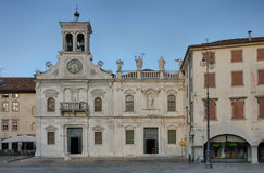 Piazza san Giacomo in Udine, Italy, sunrise time. Royalty Free Stock Photo