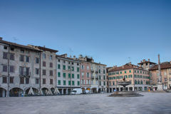 Piazza san Giacomo in Udine, Italy, sunrise time. Piazza san Giacomo in Udine, Italy, sunrise time Stock Photo