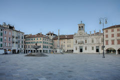 Piazza san Giacomo in Udine, Italy, sunrise time. Stock Photography
