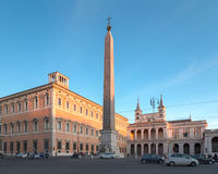 Piazza San Giovanni in Rome. Piazza San Gionvanni on the Lateran Hill, one of the seven hills of Rome, Italy. In the center is the Obelisk of Thutmosis III, with Stock Photo