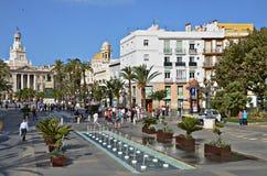 Piazza San Juan De Dios, Cadiz, Spanien Stockfotografie