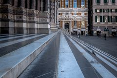 Piazza San Lorenzo. Stairs in front of a church in Genova, Italy Royalty Free Stock Photo