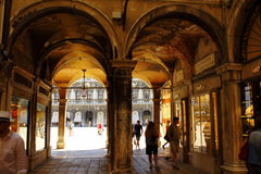 Piazza San Marco archway Venice Italy. Archway on the Piazza San Marco,St Mark`s square- part of the long arcade along the north side of the Piazza, the Royalty Free Stock Image