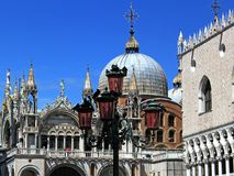 Piazza San Marco Cathedral, Venice. View of the San Marco Cathedral in Venice. The roof and dome of the Cathedral Stock Images