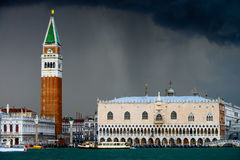 Piazza San Marco and The Doge's Palace in rain Stock Image