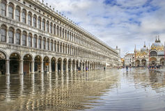Piazza San Marco during flood (acqua alta). St. Marks Square (Piazza San Marco) during flood (acqua alta) in Venice, Italy Stock Images