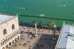 Piazza San Marco, Grand Canal, doges slott i Venedig Arkivbilder