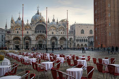 Piazza San Marco next to the Campanile, Basilika San Marco and Doge Palace. Venice, Italy royalty free stock photo
