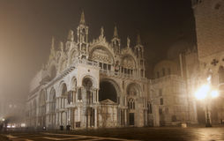 Piazza San Marco On Foggy Night Stock Images