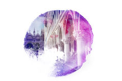 Piazza San Marco, photo retouched in style of watercolor painting Royalty Free Stock Image
