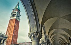 Piazza San Marco in Venice, Italy. Piazza San Marco Saint Mark`s Square with Campanile in Venice, Italy. This is the main square of Venice. View from Doge`s Royalty Free Stock Photos