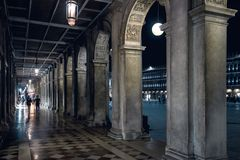 Piazza San Marco at night in Venice, Italy. Piazza San Marco Saint Mark`s Square at night in Venice, Italy. This is the main square of Venice Royalty Free Stock Image