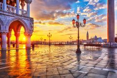 Sunrise at Piazza San Marco in Venice. Piazza San Marco at sunrise, Vinice, Italy Royalty Free Stock Photo