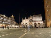 Piazza San Marco in Venetië, Italië bij nacht Stock Afbeelding