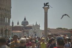 Piazza San Marco in Venice crowded with tourists. In the summertime Stock Photo