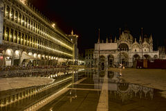 Piazza San Marco in Venice flooded by night Royalty Free Stock Photo