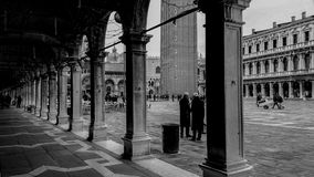 Piazza San Marco in Venice many years ago. View of Piazza San Marco in Venice in a historical photo of many years ago, half-empty square and very striking with Royalty Free Stock Photography